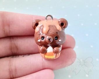 Kawaii Bear Cupcake Charm / Kawaii Charms / Kawaii Clay Charms / Kawaii Cupcake Charm