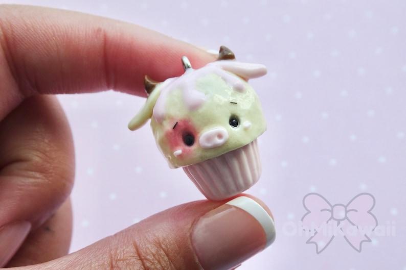 Kawaii Strawberry Cow Cupcake Charm / Kawaii Charms / Kawaii image 0