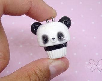 Kawaii Panda Cupcake Charm / Kawaii Charms / Kawaii Clay Charms / Kawaii Cupcake Charm