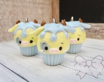 Kawaii Blue Cow Cupcake Charm / Kawaii Charms / Kawaii Clay Charms / Kawaii Cupcake Charm / Cow Charms / Cupcake Charms