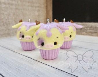 Purple Kawaii Cow Cupcake Charm / Kawaii Charms / Kawaii Clay Charms / Kawaii Cupcake Charm / Cow Charm / Cupcake Charm
