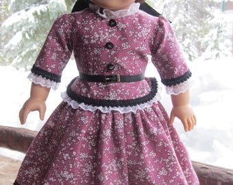 "18"" Doll Civil War Era-1850's Peplum-Style 2-Pc.  Dress for Marie Grace, Addy-Historical Dolls, Lavender/Mauve Vintage Glass Buttons"