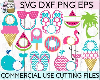 001495330ff8b Summer Monogram Frame Bundle of 13 svg dxf eps png Files for Cutting  Machines Cameo Cricut