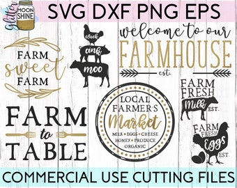 Farmhouse Bundle svg eps dxf png Files for Cutting Machines Cameo Cricut, Cute, Country, Southern, Funny, Cow, Chickens, Rustic Boho, Market