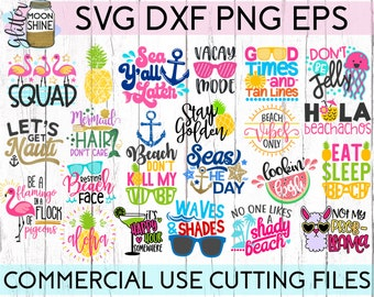 Summer Vibes Bundle of 23 svg eps dxf png Files for Cutting Machines Cameo Cricut, Flamingo, Be A Pineapple, Shady Beach, Vacation, Spring