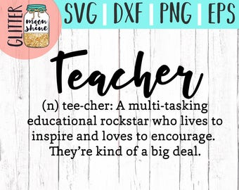 Teacher Definition svg eps dxf png cutting files for silhouette cameo cricut, Teacher svg, Teaching, Back to School, Teacher Quote, Saying