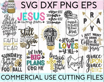 Jesus Loves Y'all Bundle 18 svg eps dxf png Files for Cutting Machines Cameo Cricut, Blessed, Southern Girl, Christian Quotes, Bible Sayings