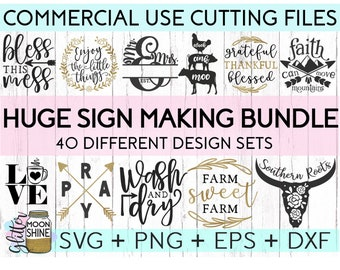 HUGE Sign Making Bundle of 40 svg eps dxf png Files for Cutting Machines Cameo Cricut, Farmhouse, Girly, Rustic, Home Sweet Home, Christian