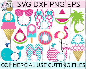 Summer Monogram Frame Bundle of 13 svg dxf eps png Files for Cutting Machines Cameo Cricut, Cute, Spring, Beach Vacation, Sunglasses, Whale