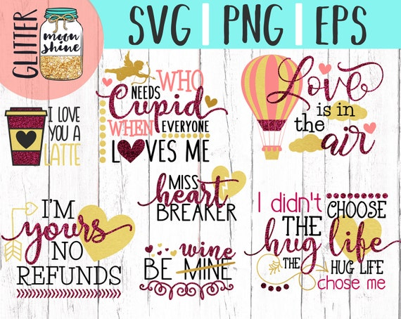 Love Quote Bundle Svg Dxf Png Eps Files For Cutting Machines Etsy