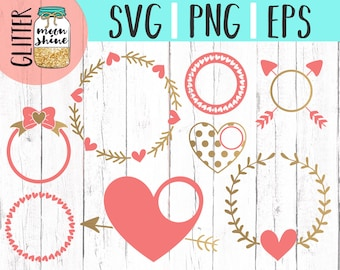 Valentine's Day Love Monogram Frame Bundle svg dxf eps png Files for Cutting Machines Cameo Cricut, Hearts, Cupid, Arrow, Bow, Round, Cute