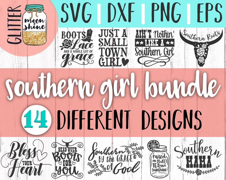 Southern Girl Quotes Bundle svg eps dxf png Files for Cutting image 0
