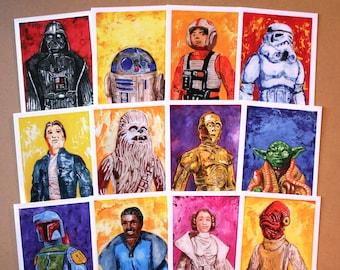 Star Wars Greeting Cards SET OF 12 - Blank Inside - Original Artwork, inspired by Vintage Kenner 1977 Star Wars Action Figures