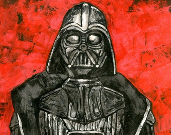 Dark Lord - 11x14 Giclee ORIGINAL ART PRINT inspired by the Vintage Kenner Star Wars Action Figure Darth Vader