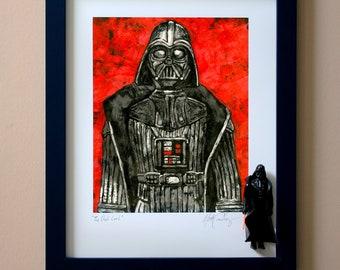 "Star Wars DARTH VADER Original Artwork Art Print - inspired by Vintage Kenner Star Wars Action Figures - ""Dark Lord"" - 11"" x 14"" Framed"