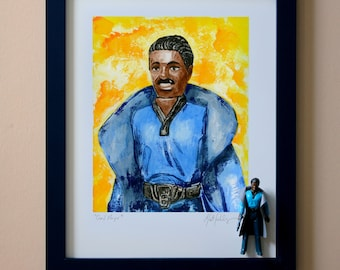 """Star Wars LANDO CALRISSIAN Original Artwork Art Print - inspired by Vintage Kenner Star Wars Action Figures - Card Player 11"""" x 14"""" Framed"""