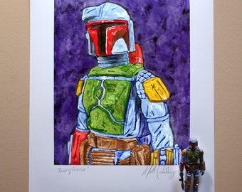 "Star Wars BOBA FETT Original Artwork Art Print - inspired by Vintage Kenner Star Wars Action Figures - ""Bounty Hunter"" - 11"" x 14"" unframed"