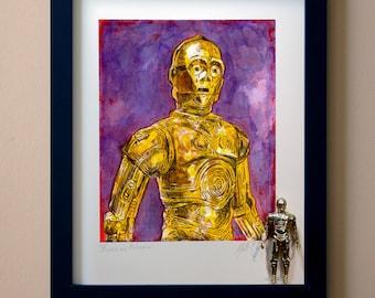 """Star Wars C-3PO Original Artwork Art Print - inspired by Vintage Kenner Star Wars Action Figures - """"Mindless Philosopher"""" 11"""" x 14"""" Framed"""