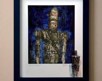 """Star Wars IG-88 Original Artwork Art Print - inspired by Vintage Kenner Star Wars Action Figures - """"Assassin Droid"""" 11"""" x 14"""" Framed"""