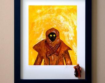 """Star Wars JAWA Original Artwork Art Print - inspired by Vintage Kenner Star Wars Action Figures - """"Junk Dealer"""" - 11"""" x 14"""" Framed"""