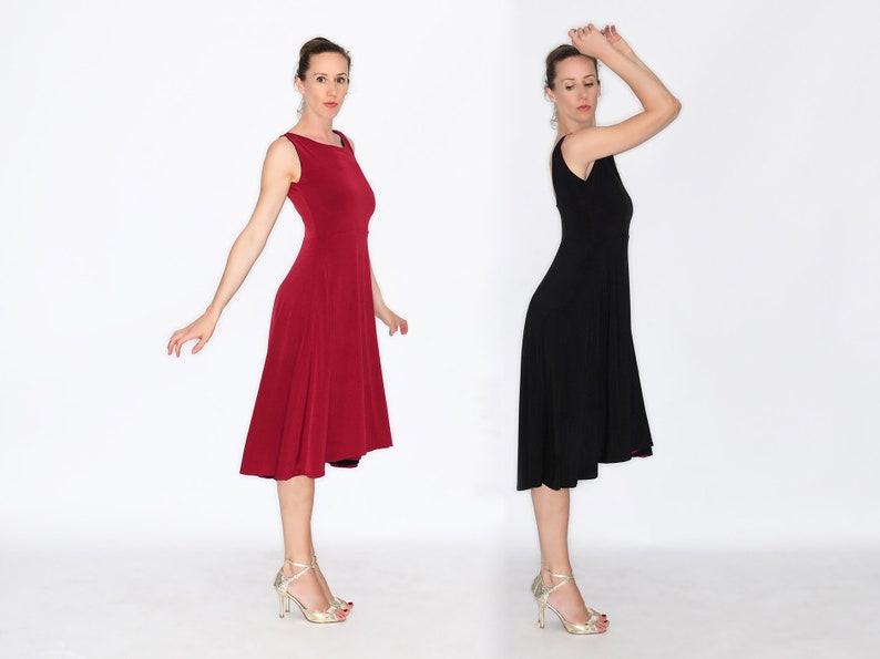 DI SARLI Reversible Tango Dress Empire Waist  Black and image 0