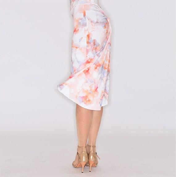 Tango Skirt Print Draped LAST Light Orange SALAMANCA fqp8aO