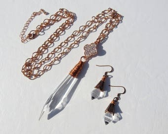 Copper Wire Wrapped Icicle Crystal Necklace and Earrings // Rose Gold 4 Leaf Clover Jewelry Set // Rose Gold Icicle Prism Necklace