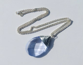 Light Blue Prism Necklace // Large Blue Crystal Chandelier Necklace // Silver Wire Wrapped Blue Crystal Necklace