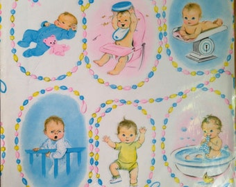 Vintage Gift Wrapping Paper by Gibson for baby shower, first birthday