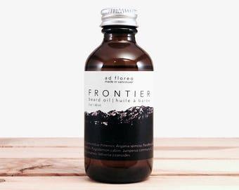 Beard Oil: FRONTIER - forest scented beard conditioner, evergreen beard oil 1 oz, beard softener product, softening skincare for men