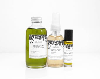 Travel Kit: SENSITIVE SKIN - asian skin care, face oil cleansing, japanese skincare products, japanese skin care, cleanser, double cleansing