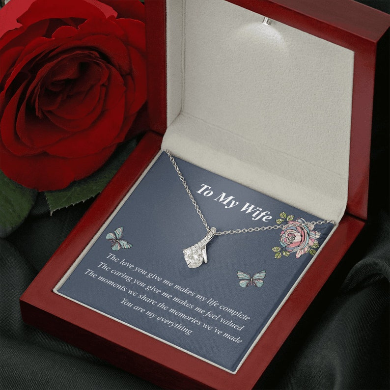 Wife Jewelry Valentine Gift With Romantic Message Card Alluring Gift for Wife Wife Gift From Husband To My Wife Necklace