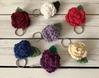 Crochet Rose Keychain
