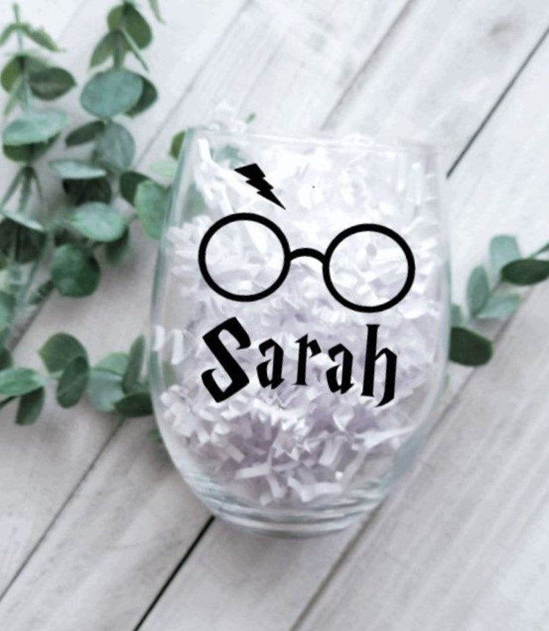 Personalized Gift for Her Bridesmaid Gift Harry Potter Wine Glass Gift for Wine Lover Custom Name Gift for Harry Potter Lover