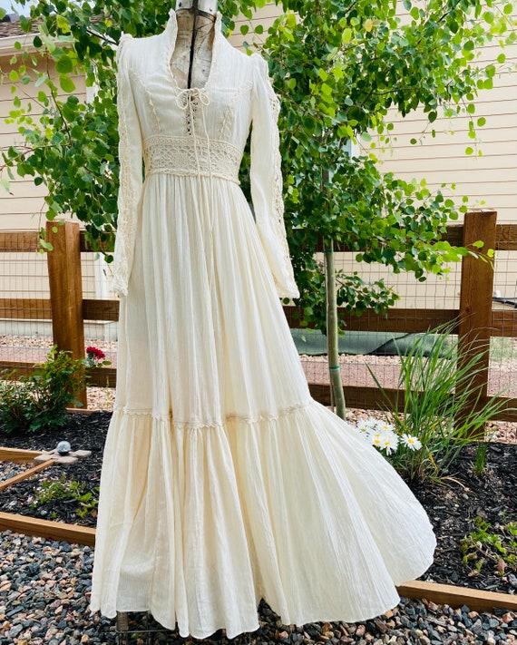 Gunne Sax Corset prairie Dress Vintage 1970's - image 1