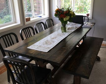 Dark Wood Table Etsy - Dark wood farm table