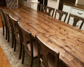 Long Farmhouse Table, Large Farm Table, Rustic Table, Custom Farm Table,  Dining Room Table, Barn Table, Massive Farm Table, Wood Table