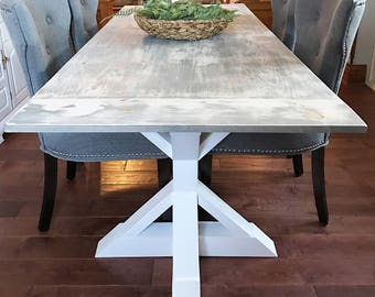 Grey Dining Table Etsy - Rectangular farm dining table