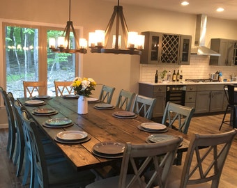 Large Farmhouse Table Rustic Farm Dining Modern Natural Wood Kitchen