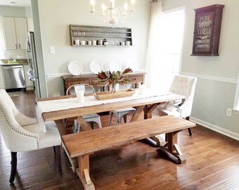 Modern Rustic Farmhouse Table, Custom Farm Table, Rustic Wooden Kitchen  Table, Large Farmhouse Table, Natural Wood Dining Room Table