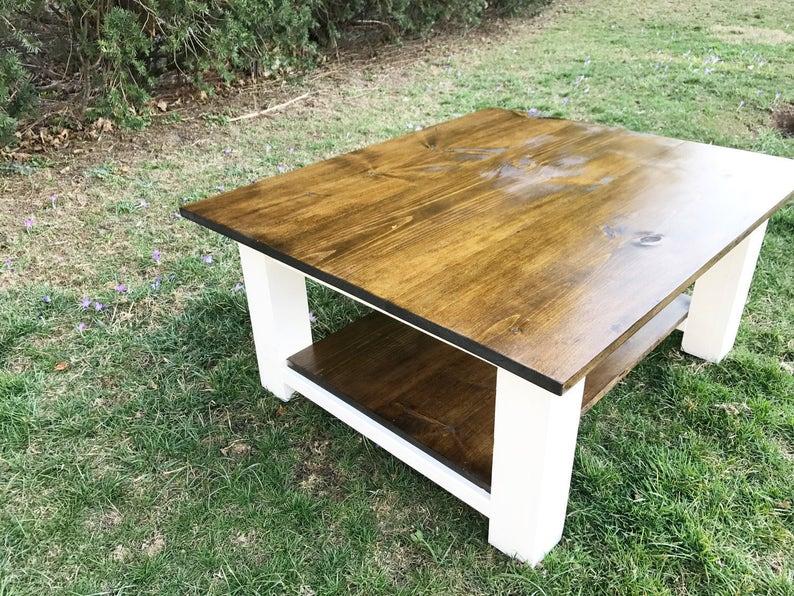 Beau Rustic Coffee Table, Farmhouse Coffee Table, Farm Coffee Table, Square  Coffee Table, Distressed Coffee Table, Rustic Wood Coffee Table
