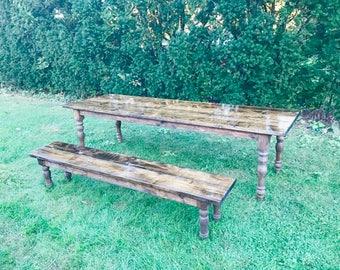 Farmhouse Table, Rustic Table, Modern Farm Table, Long Farmhouse Table, Farm Table with Turned Legs, Custom Farm Table - All Sizes & Stains