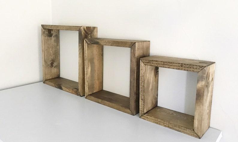 Rustic Box Shelves Set Of 3 Floating Box Shelves Floating Etsy