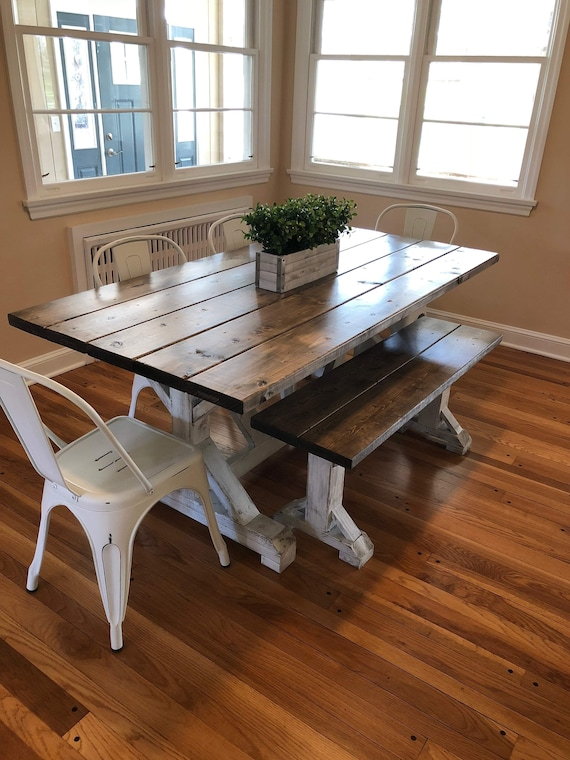 Rustic Farmhouse Table, Distressed Farm Table, Farmhouse Kitchen Table,  Farm Dining Room Table, Wooden Table, Custom Table with White Base