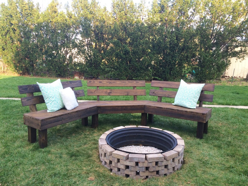 Astounding Outdoor Fire Pit Bench Fire Pit Diy Fire Pit Bench Outdoor Bench Rustic Bench Summer Bench Bralicious Painted Fabric Chair Ideas Braliciousco
