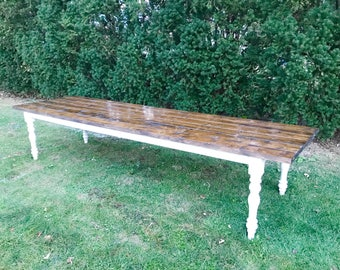 Large Farmhouse Table, Long Farm Table, Rustic Farm Table, Turned Legs Table, Spindle Farm Legs, Barn Table, Wood Table, Wooden Farm Table