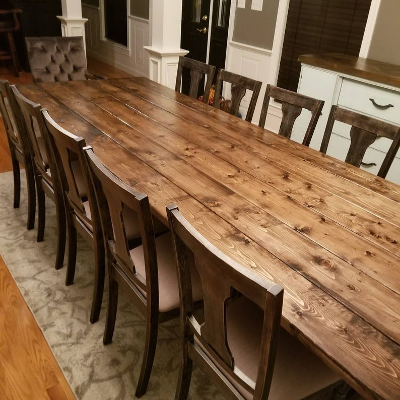 Long Farmhouse Table Large Farm Table Rustic Table Custom Farm Table Dining Room Table Barn Table Massive Farm Table Wood Table