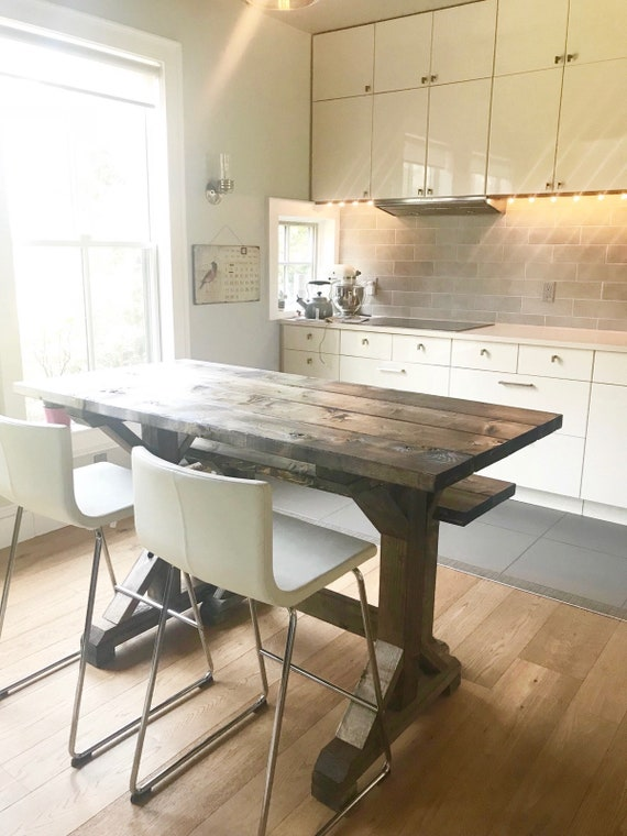 Kitchen Island Farm Table | Farmhouse Countertop Table Farm Table Countertop Height Etsy