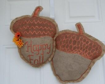 Falling Acorns Decorative Burlap Door Hangers
