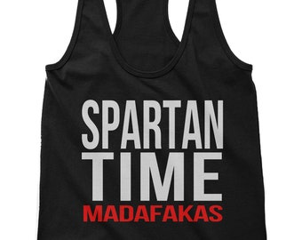 Spartan Time Madafakas Active Wear Scallop Bottom Tank for Women